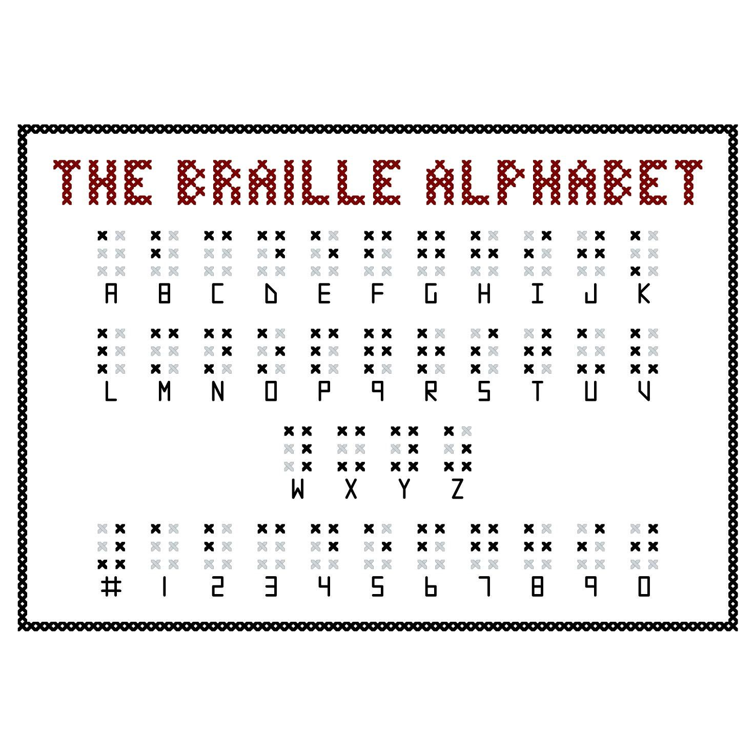 Braille Alphabet Cross Stitch Sampler Pattern