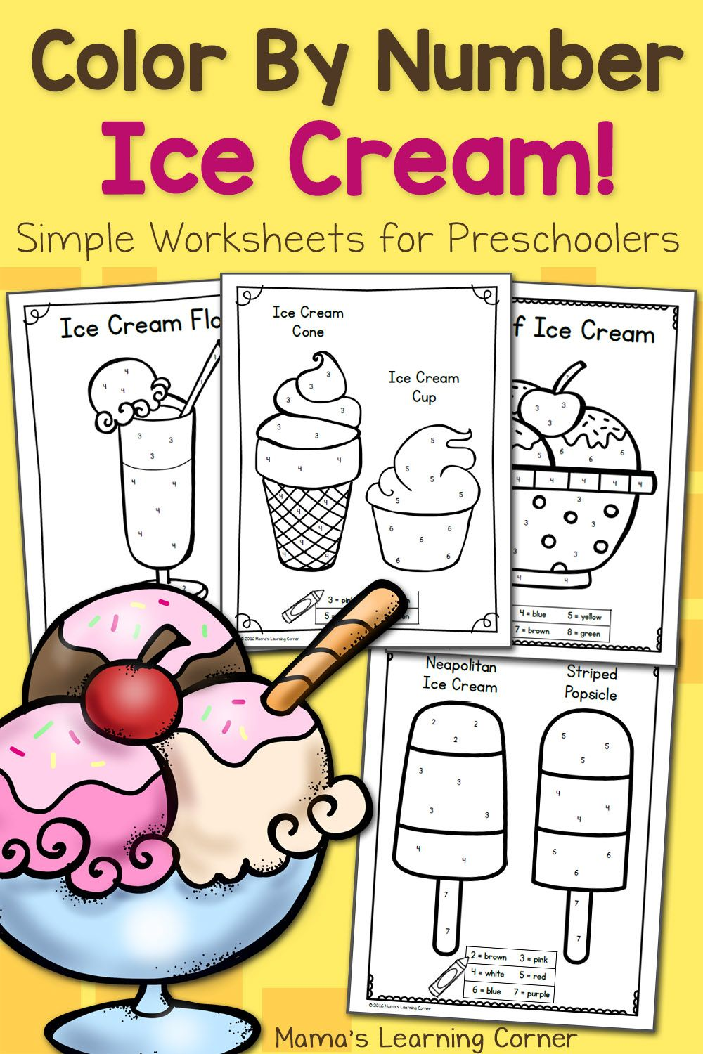 Color By Number Worksheets for Preschool Ice Cream