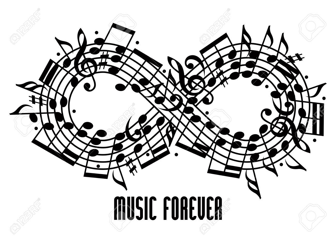 Forever Music Concept Black And White Design Infinity