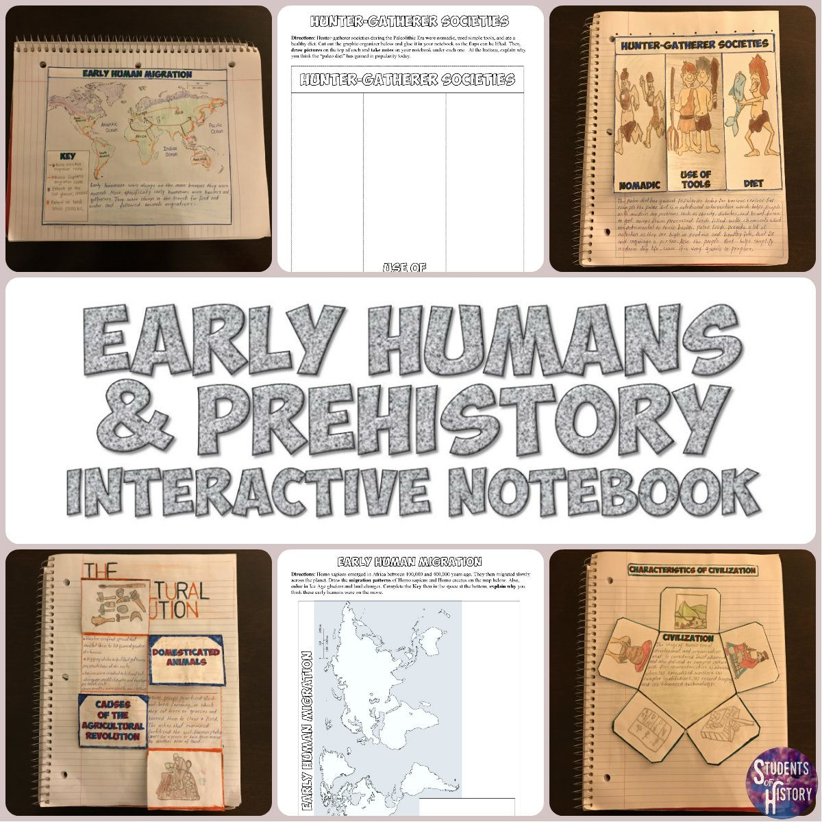 Prehistory And Early Humans Notebook Activities Great For Middle School Lessons