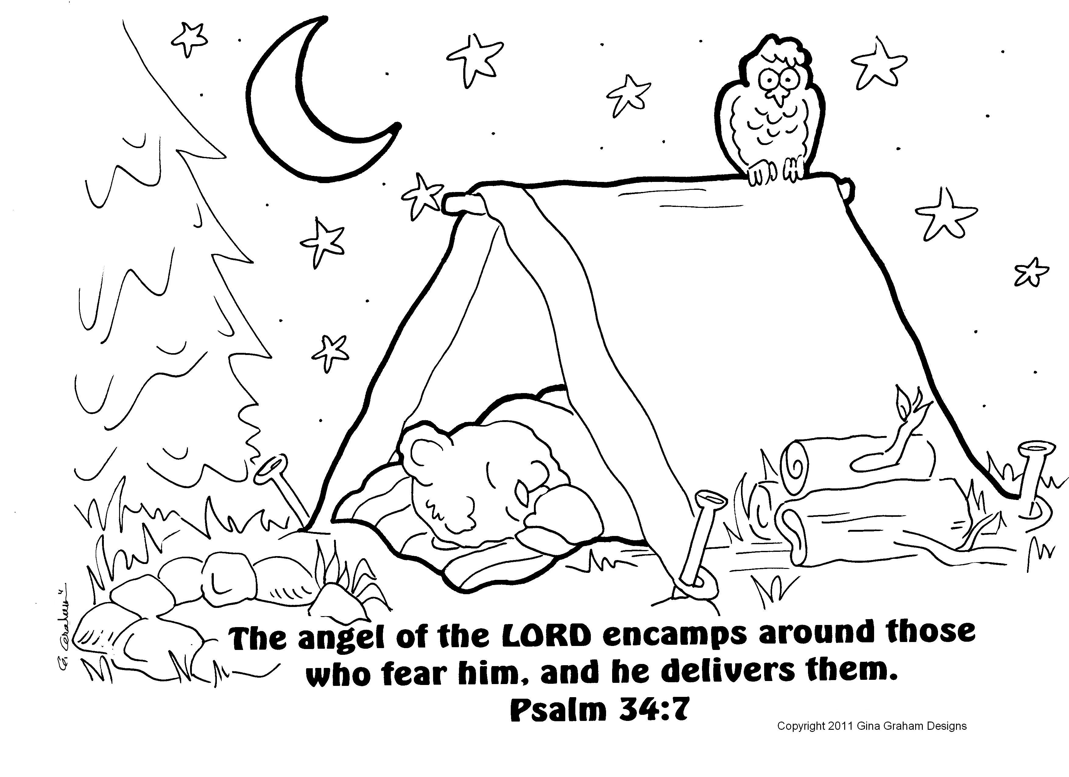 Going Camping Coloring Sheet To Print Out With Bible Verse At Devo Kids