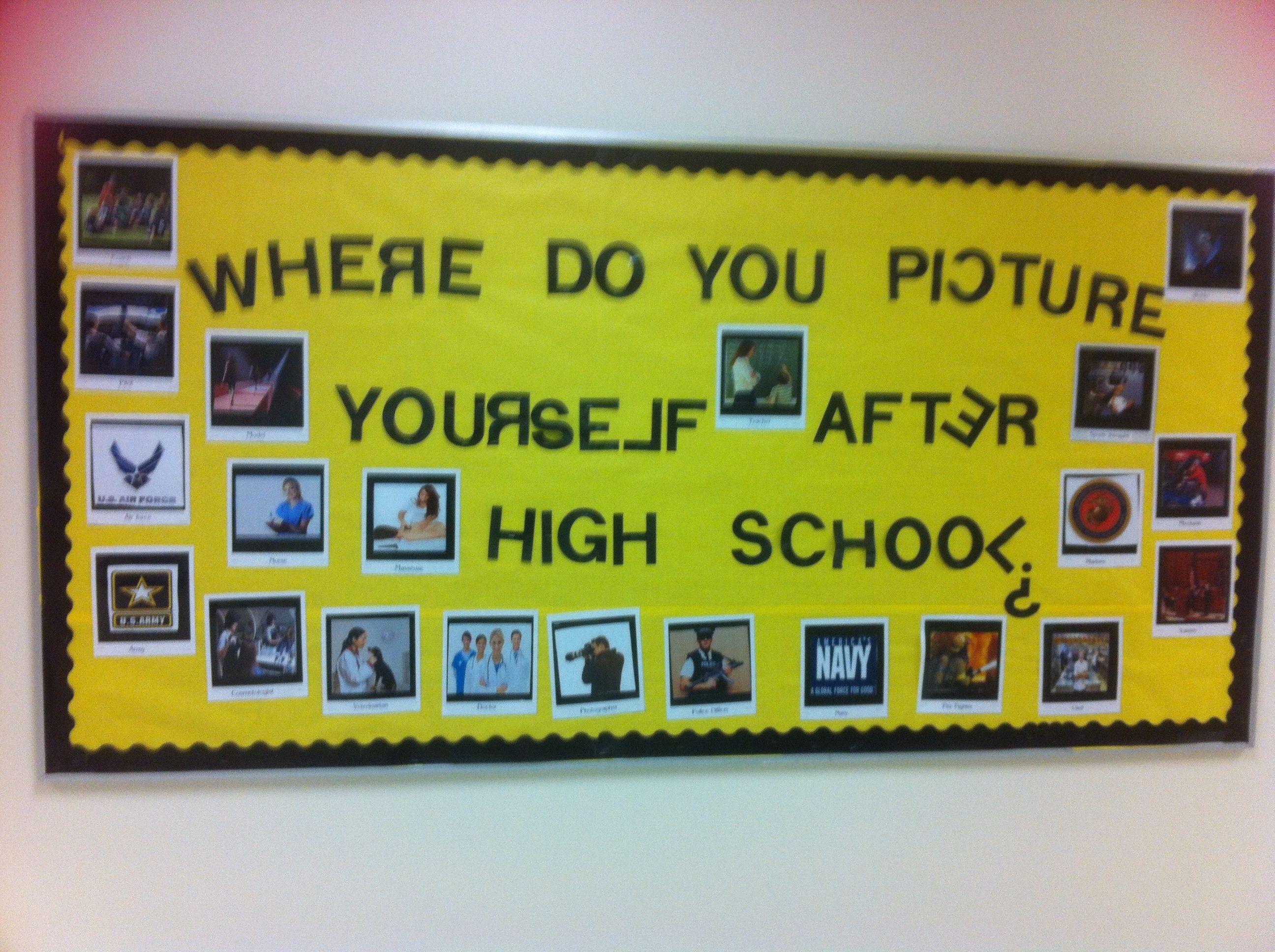 High school career bulletin board designed by high school