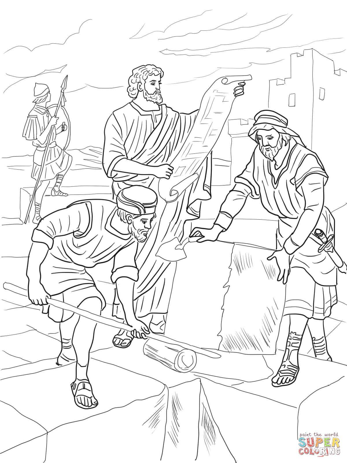 1 Nehemiah Rebuilding The Walls Of Jerusalem Coloring Page