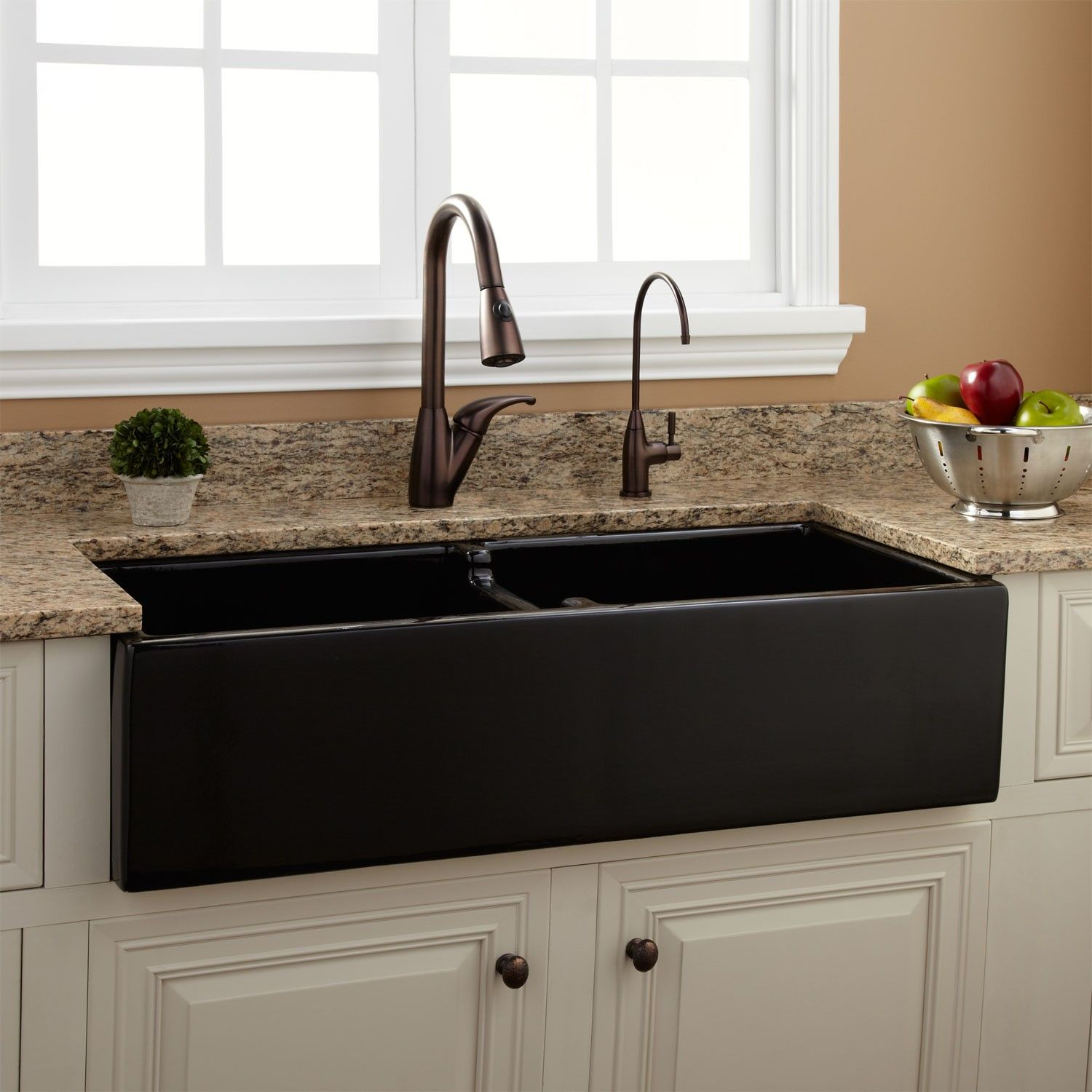 "39"" Risinger DoubleBowl Fireclay Farmhouse Sink Black"