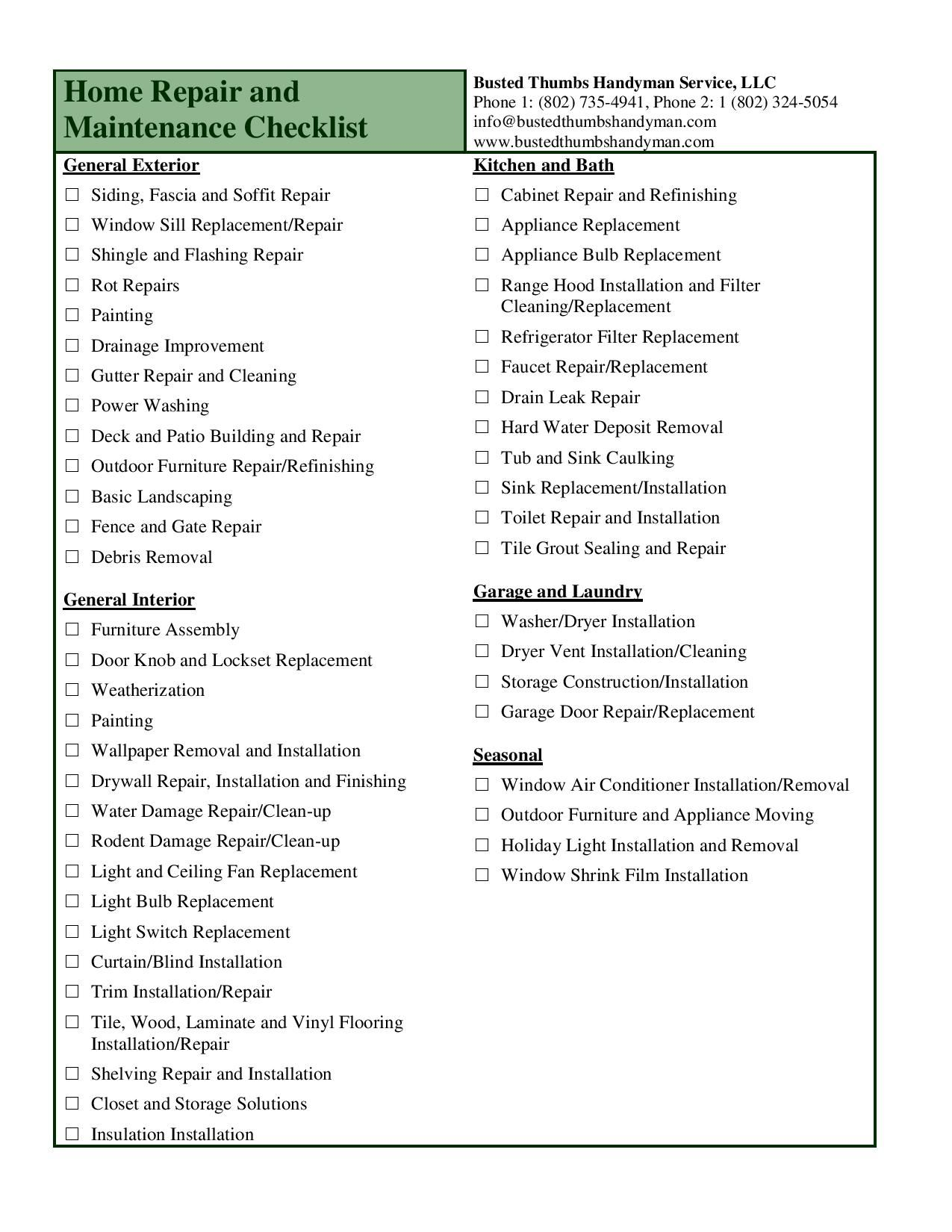 Home Remodeling Project Checklist