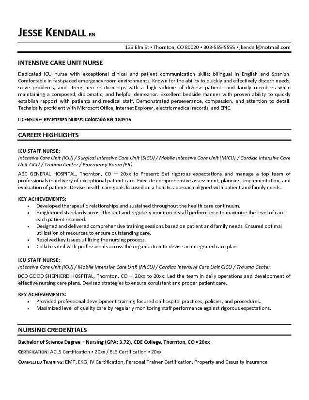 resume resume objective and intensive care unit on pinterest