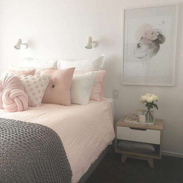 blush pink, white and grey pretty bedroom via ivoryandnoir on