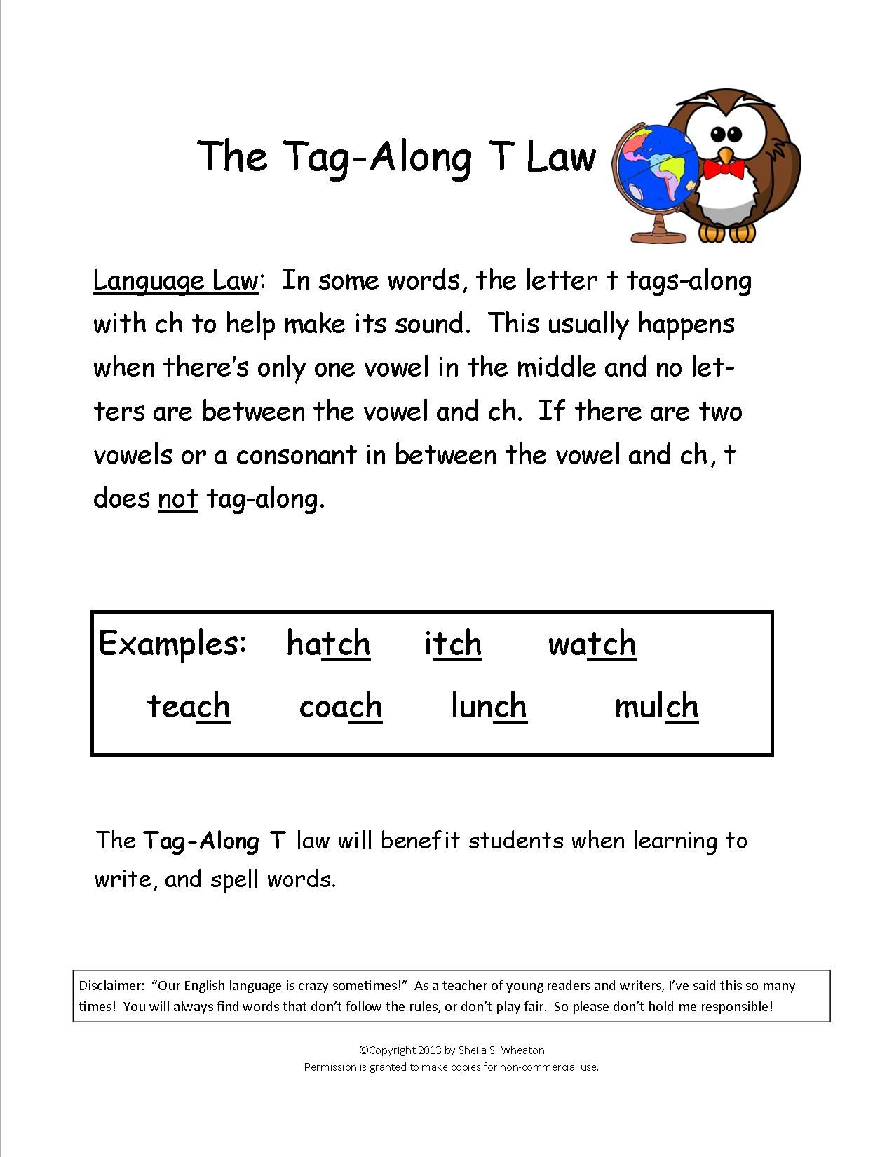 Tag Along T Teaches When To Use Tch Versus Ch At The End