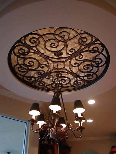Faux Wrought Iron Ceiling Medallion Over Chandelier Love It But I Would Use A Diffe