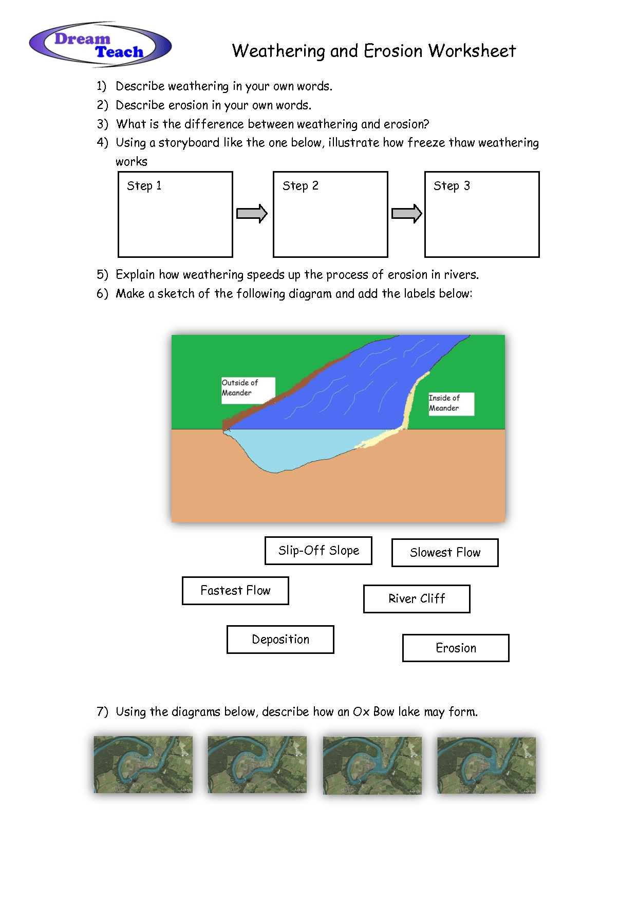 Weathering And Erosion Worksheet