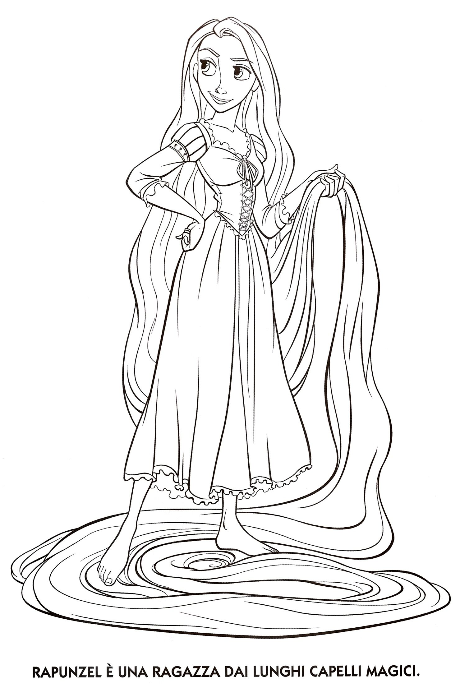Rapunzel Coloring Page Easy For Kids