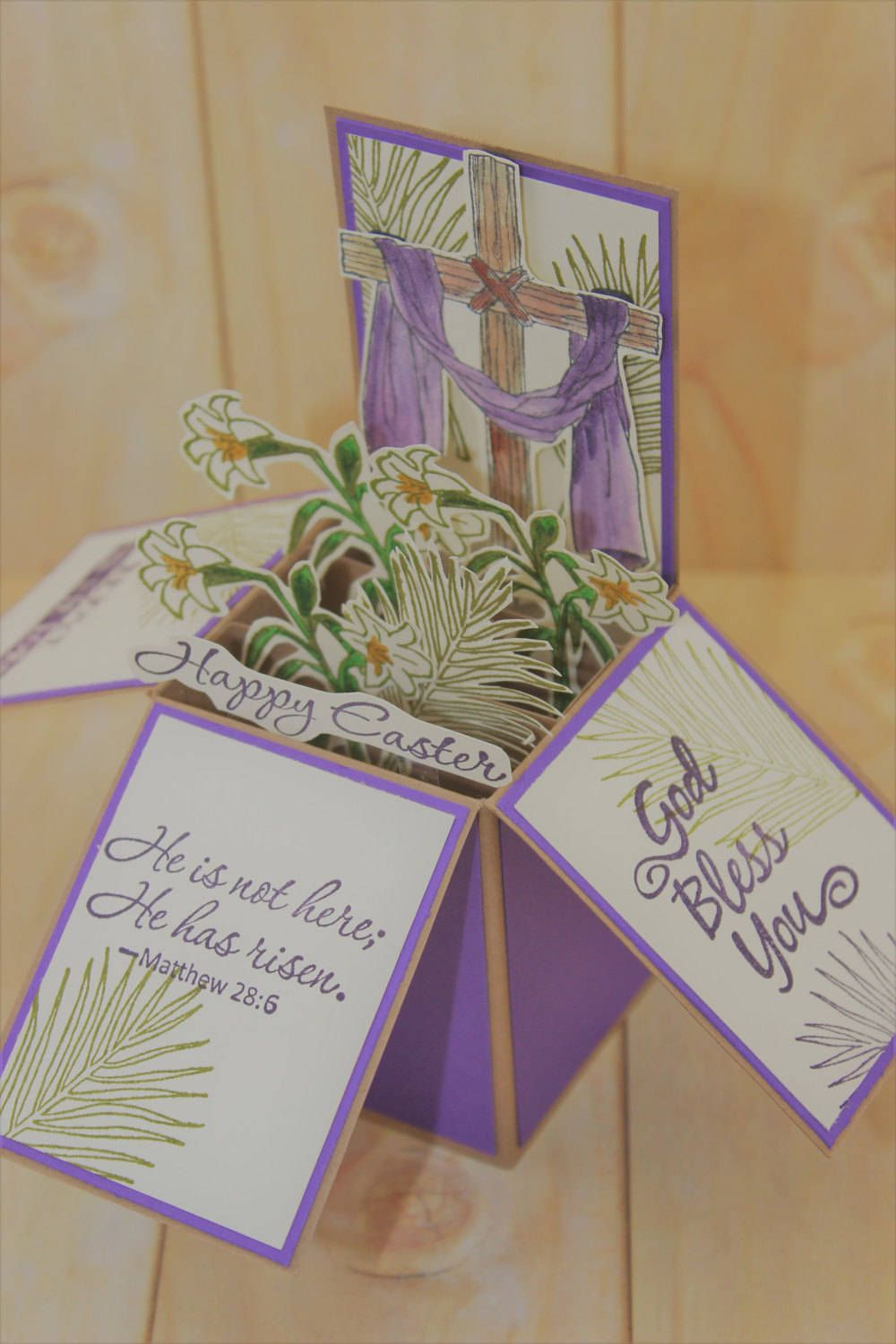 Easter Pop Up Card, Card in a Box, Religious Card, Happy