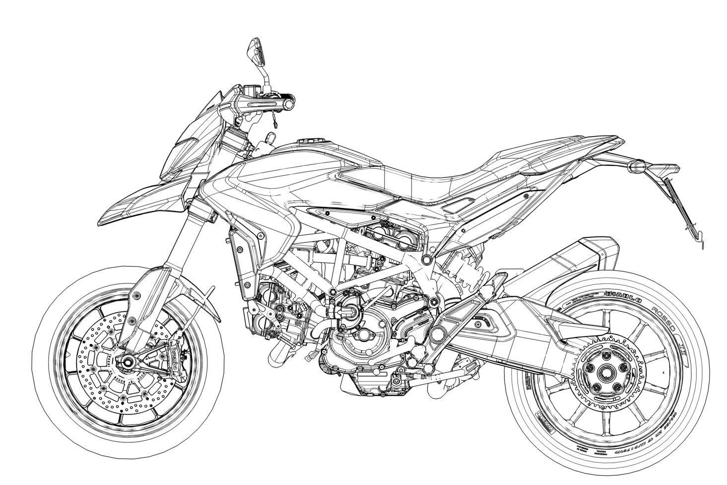 Ducati Hypermotard Cad Drawing
