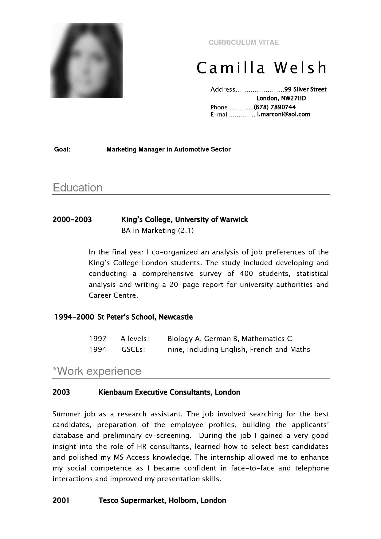 CV SAMPLE CURRICULUM VITAE Camilla Resume Pinterest