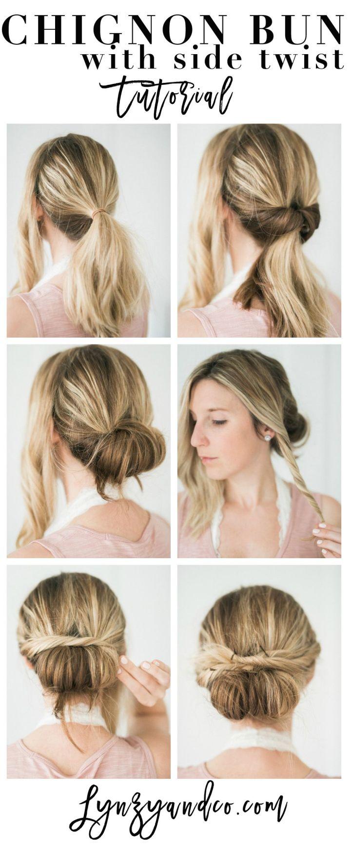 Hướng dẫn làm tóc đơn giản Chignon Bun với Twist