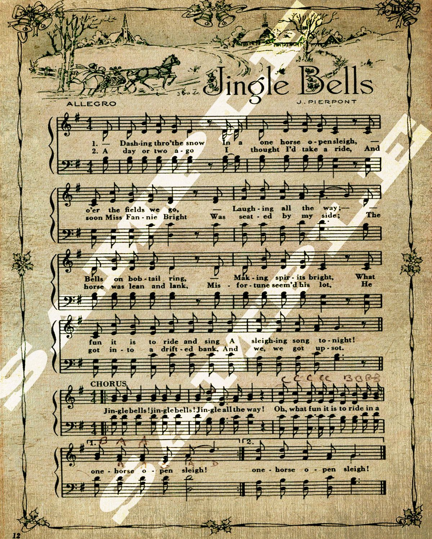 Jingle Bells Christmas Holiday Art Sheet Music Printable