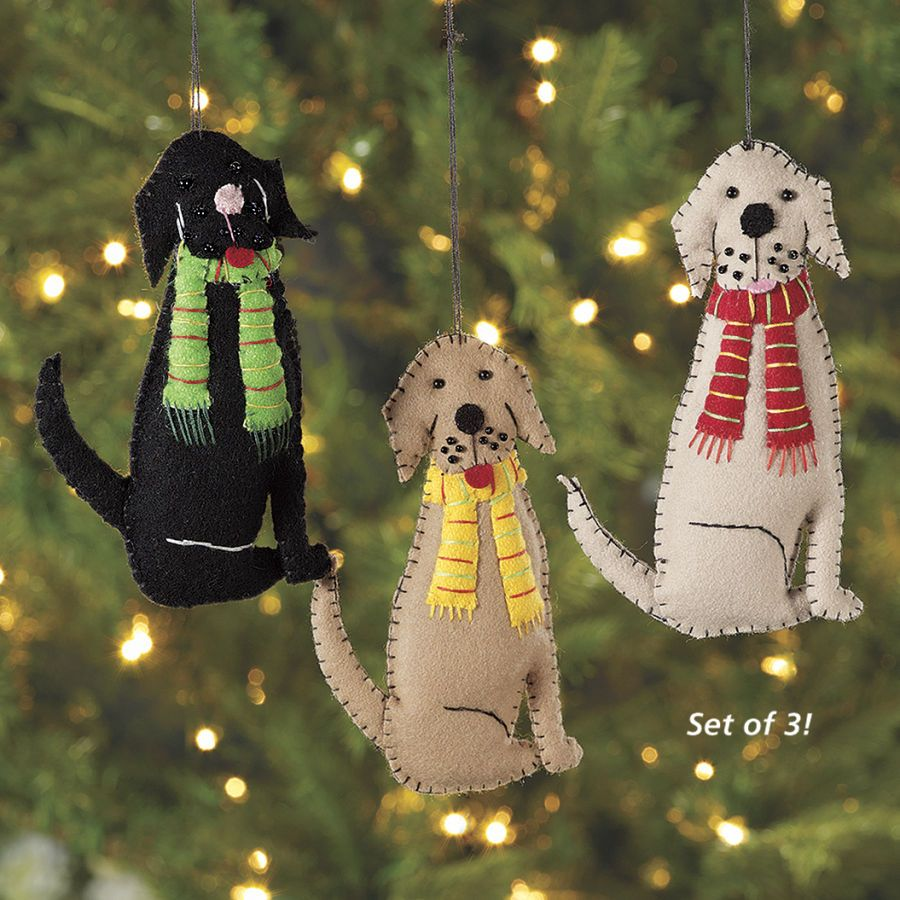 Set of 3 Felt Dog Ornaments Dog Beds, Dog Harnesses and