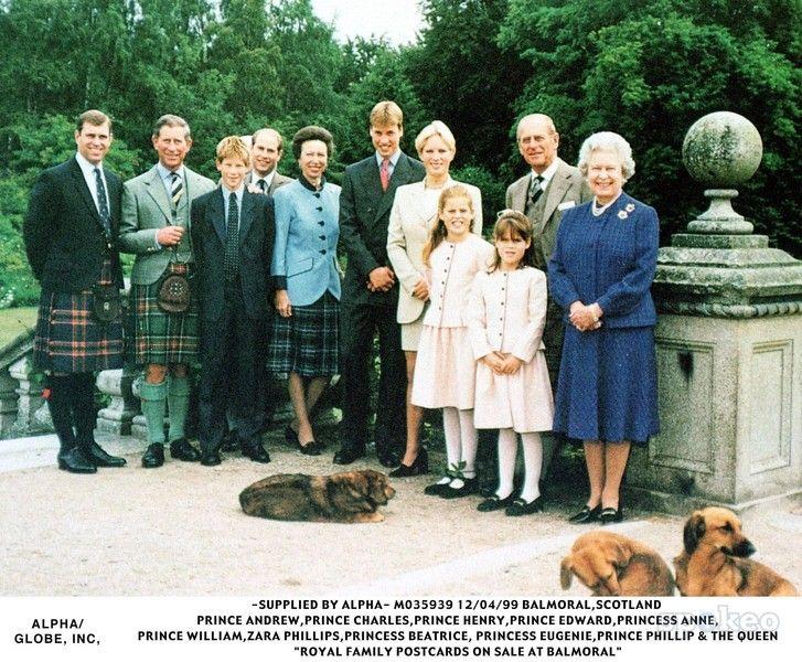 Queen Elizabeth II, with her children and grandchildren