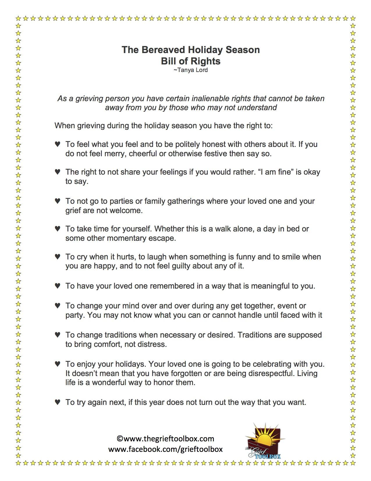 The Bereaved Holiday Season Bill Of Rights