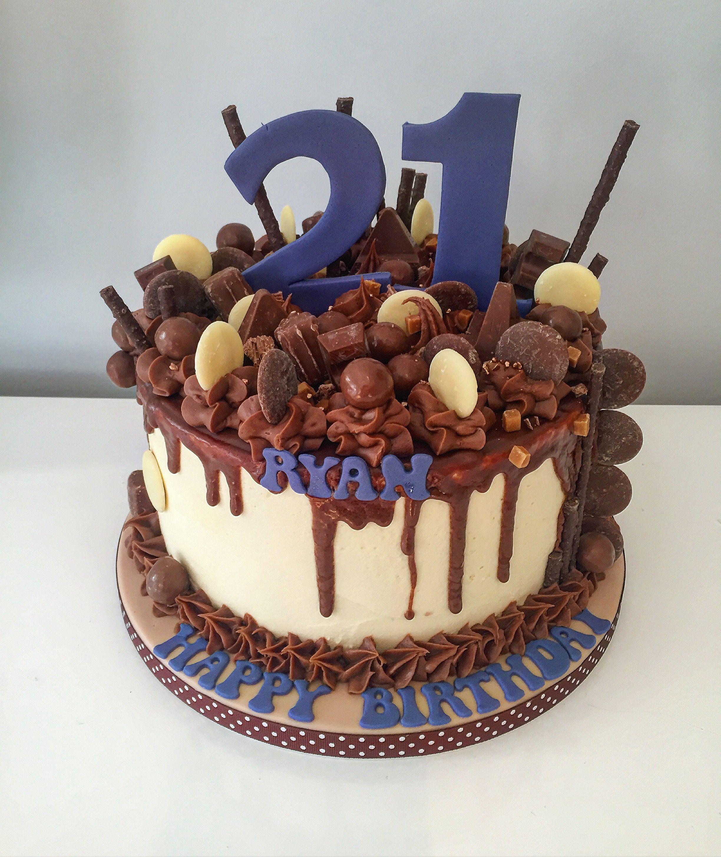 21st Birthday Drip Cake Chocolate Buttons Malteaser