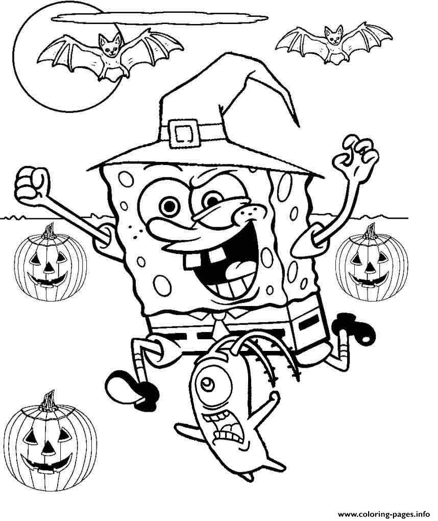 Spongebob Halloween Coloring Pages Halloween Pinterest