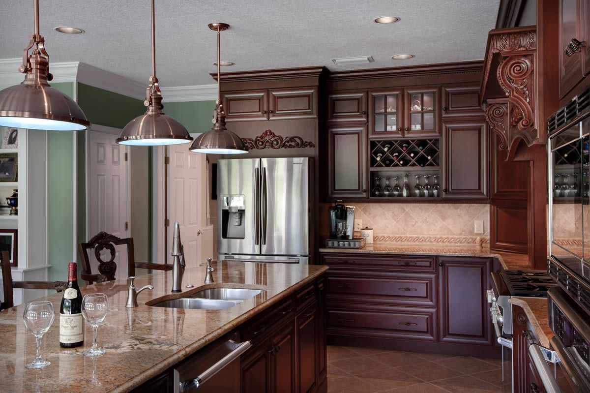 dark brown with light brown kitchen counters and