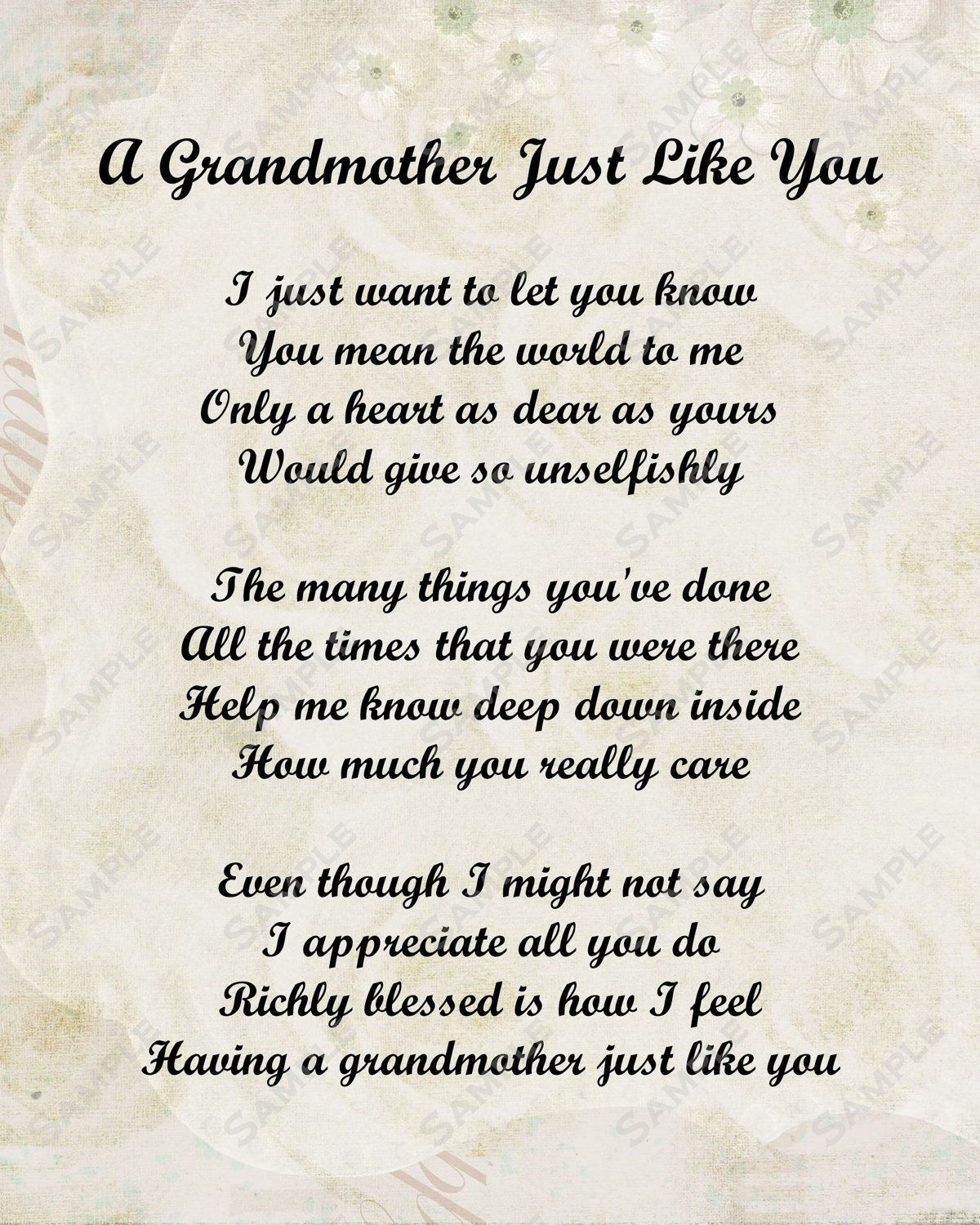 Grandmother Poem Love Poem Instant Download By Queenofheart Ts 8 99