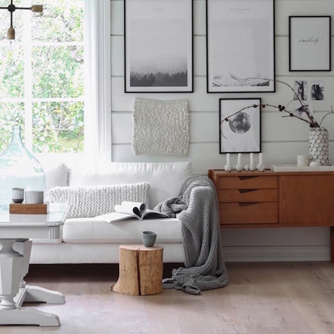 Modern rustic living room featuring white shiplap walls