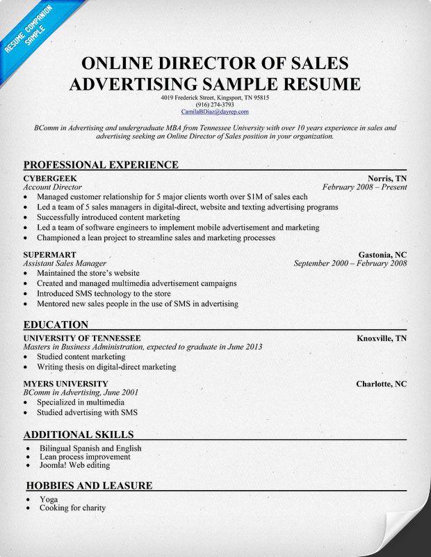 Online Advertising Sales Resume. 1000 images about resume on ...