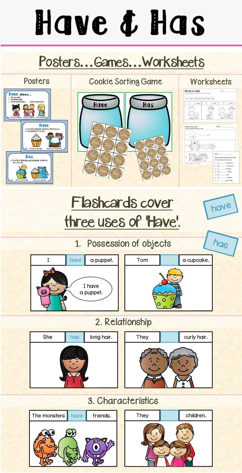 Have Has Grammar Worksheets, Preschool literacy and