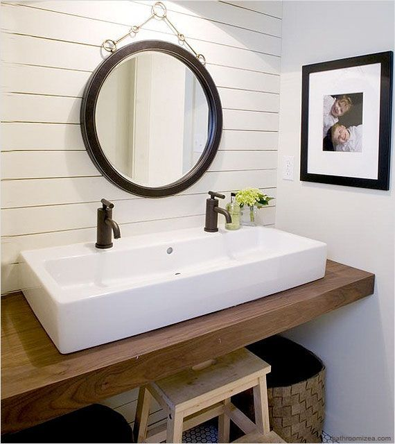 no room for a double sink vanity? try a trough style sink with two