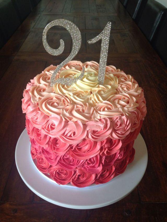 21st birthday cake buttercream rosettes birthday