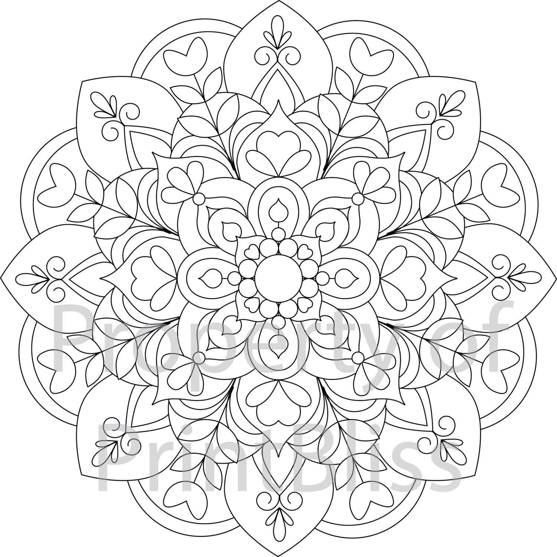 19 Flower Mandala Printable Coloring Page