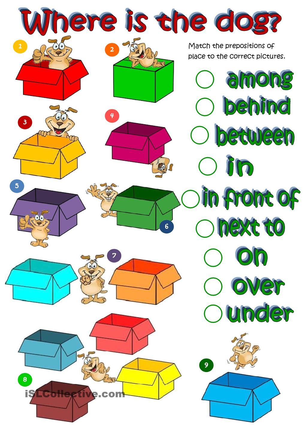 Where's the dog prepositions of place worksheet Free