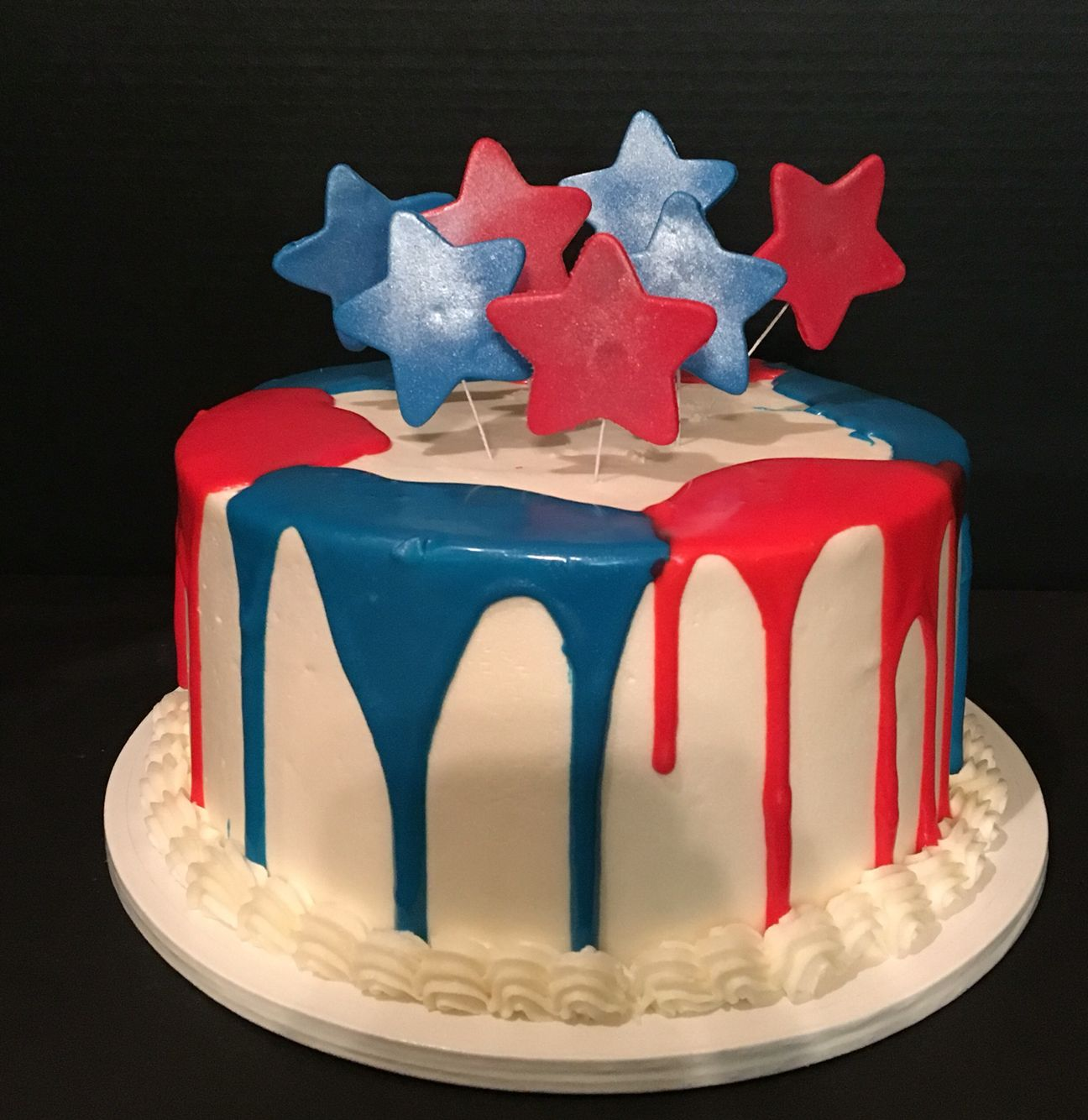 Red White And Blue Drip Cake