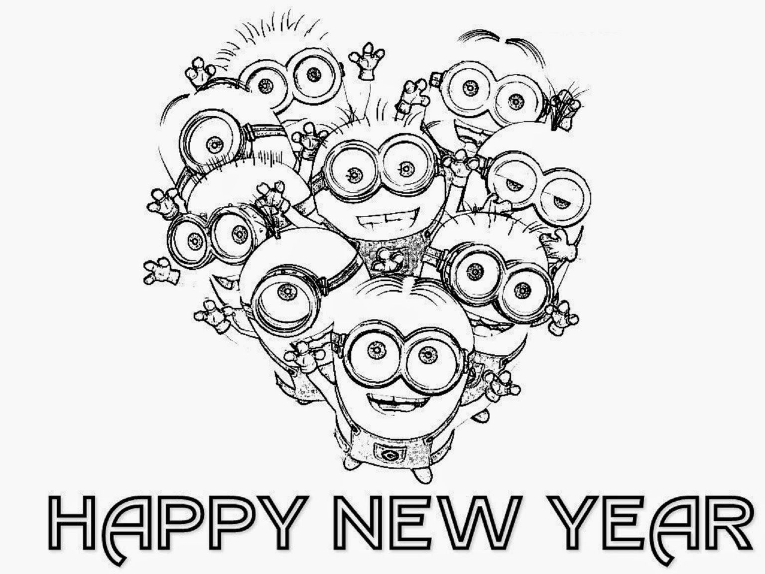 Minion Happy New Year Coloring Page For Kids