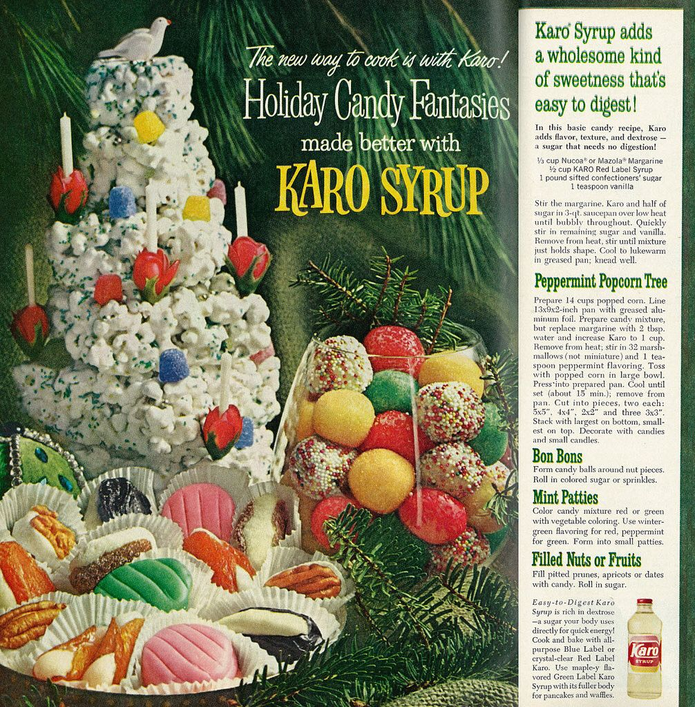 1962 Christmas Treats Ad, Karo Syrup Holiday Candy