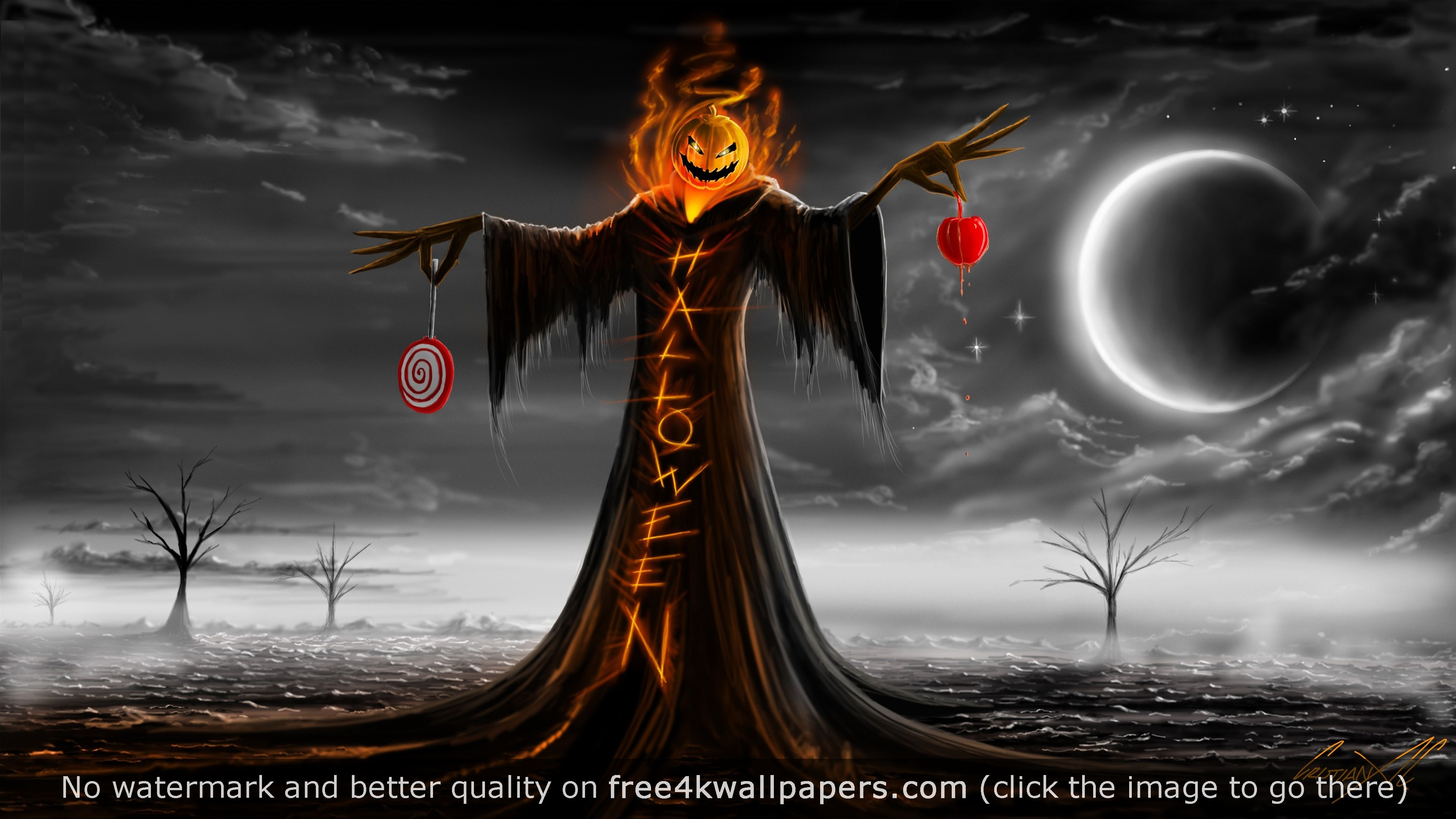 Halloween Pumpkin Hhost 4K wallpaper Desktop Wallpapers