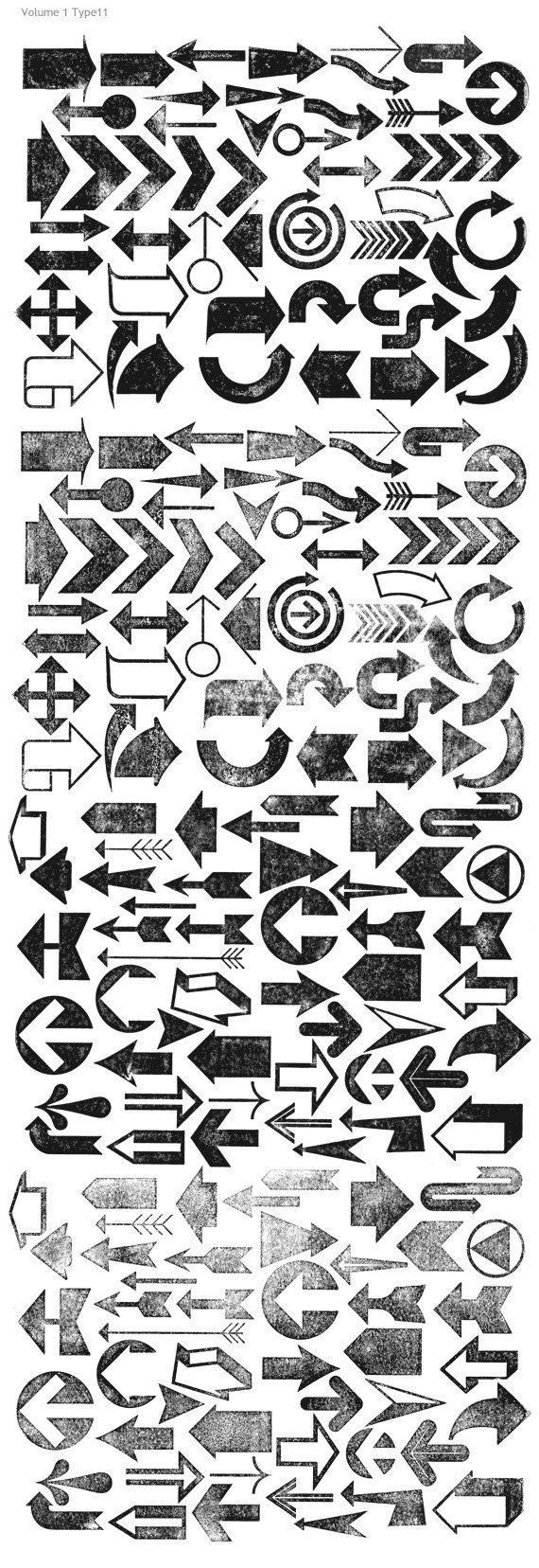 Distressed Arrows & Arrowheads an array of symbol marks