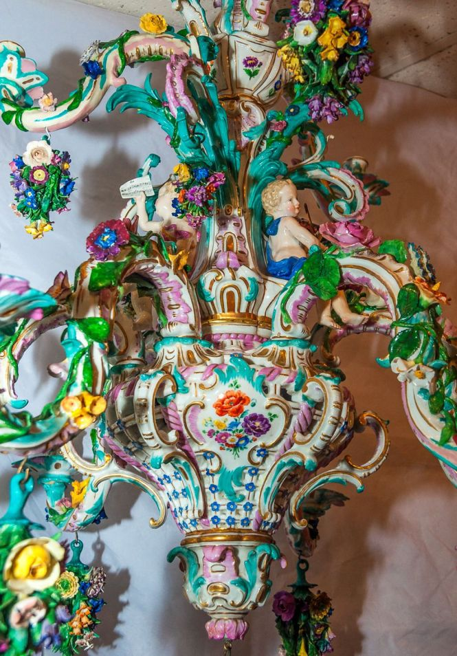 Two Tier Meissen Porcelain Chandelier With Birds And Flower Decorations