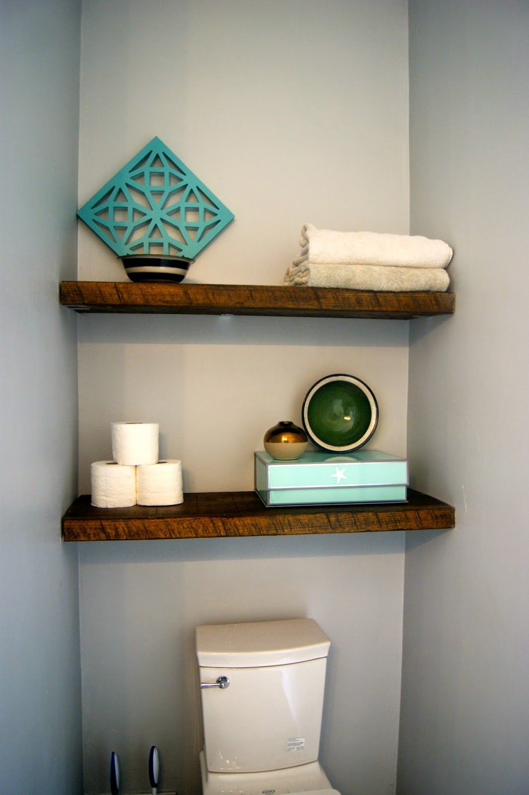 Floating Shelves Above the Toilet (use small L brackets