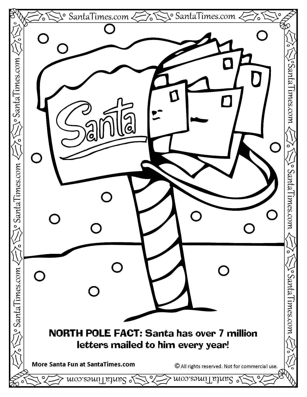 Santa S North Pole Mailbox Coloring Page Printout More