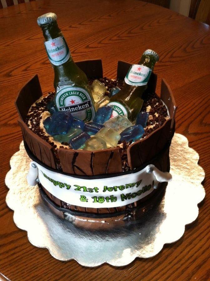 The cake I made for my boyfriend's 21st birthday. Bottles