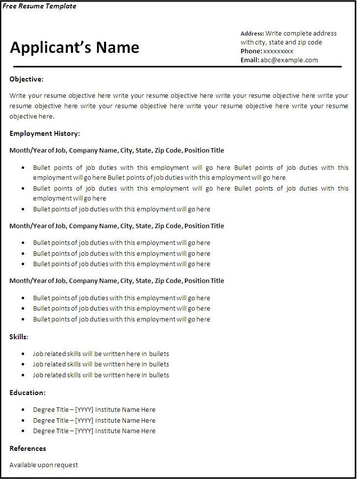 free resume format download in ms word - Resume Builder Online Free Download