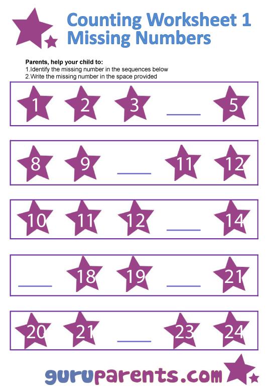 Preschool Missing Numbers Worksheets These free