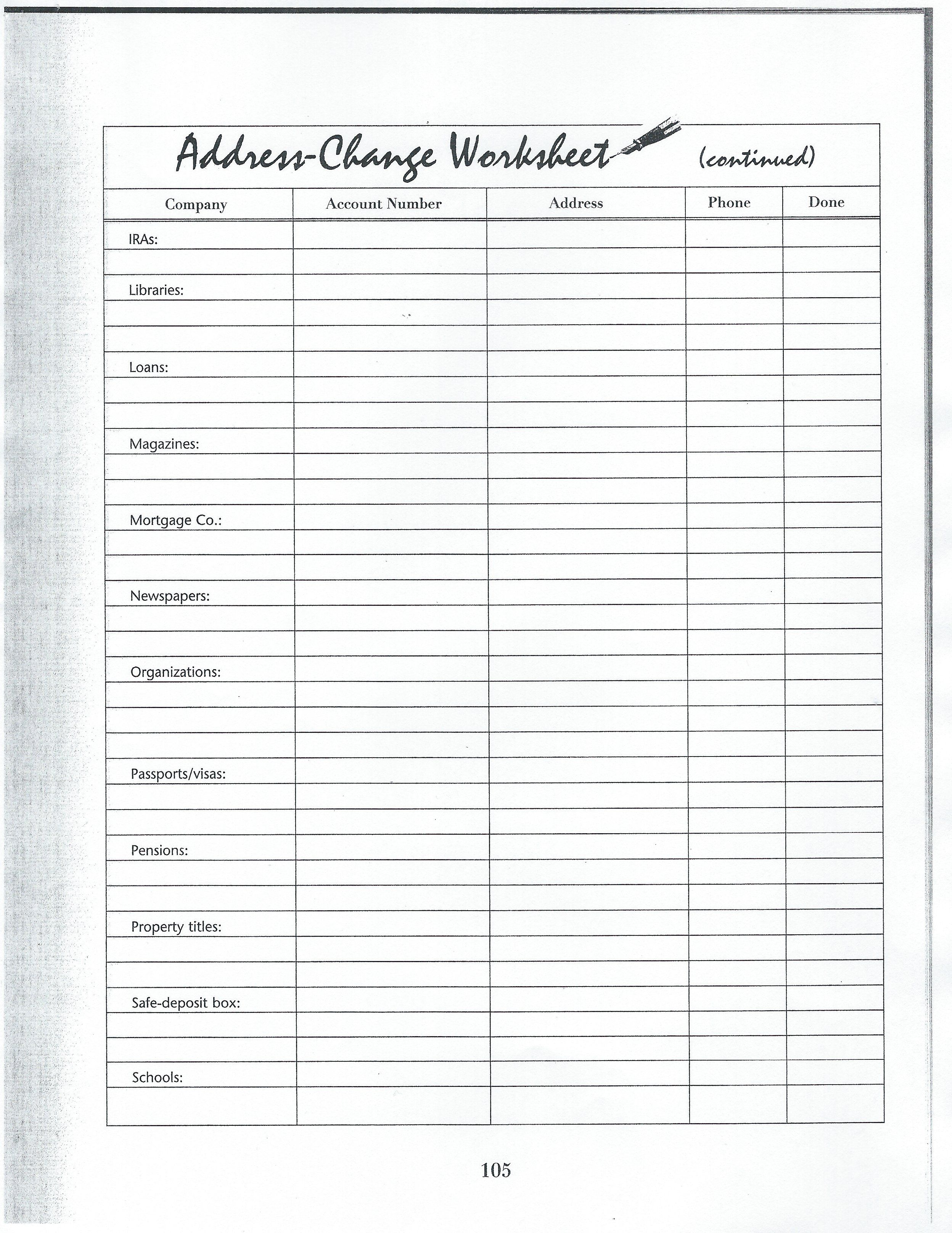 Address Change Worksheet 3