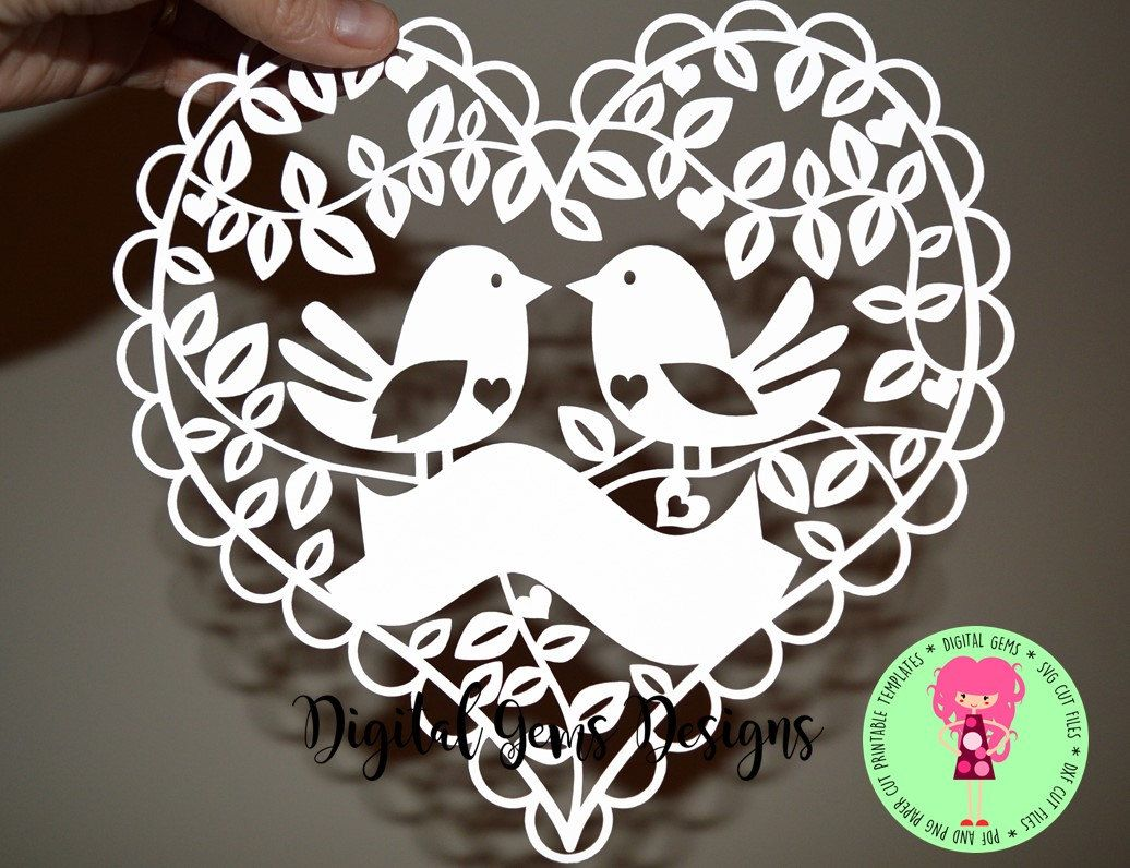 Love Bird Papercut Template SVG / DXF Cutting File For