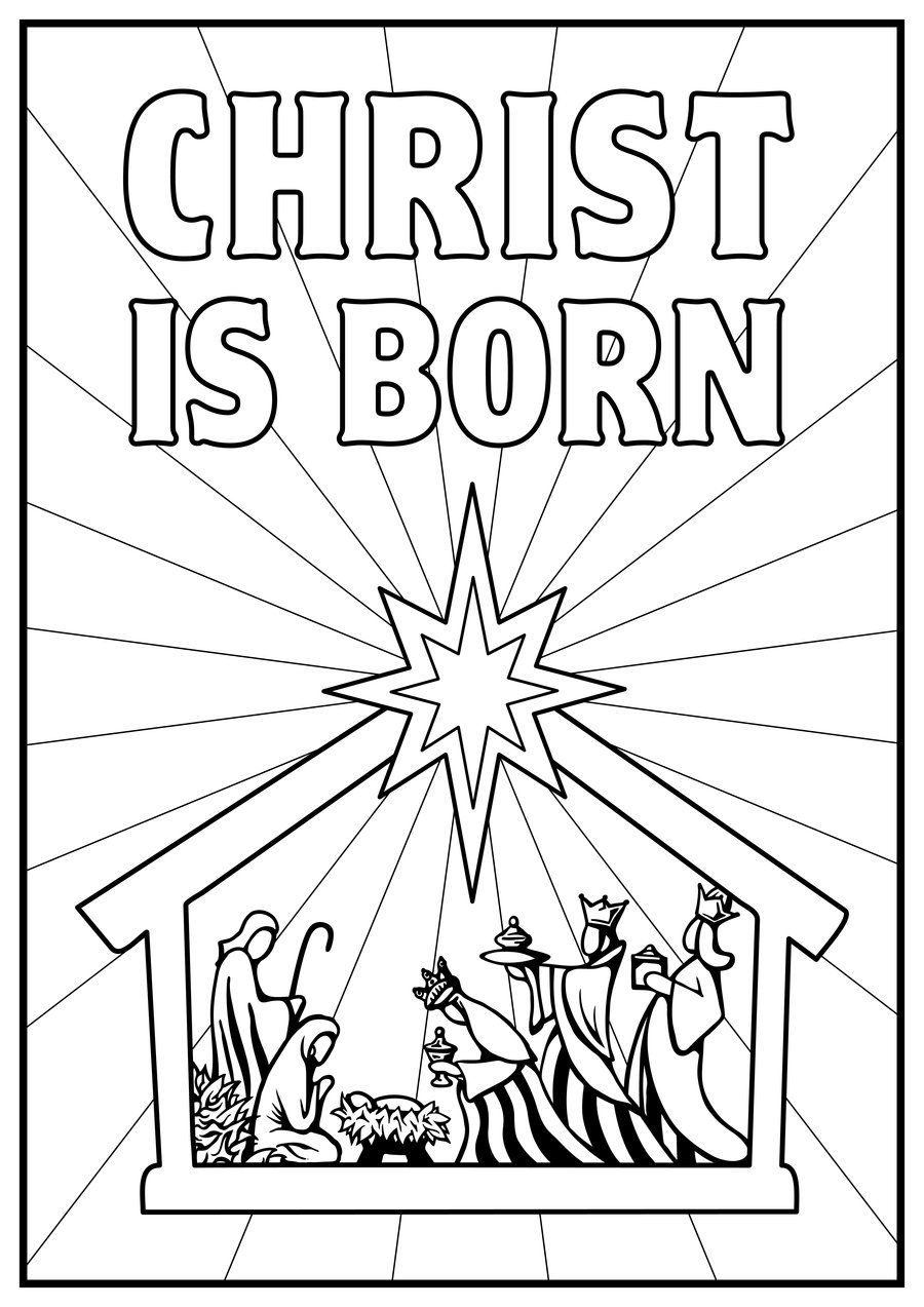 kids color pages manger scene Nativity story coloring
