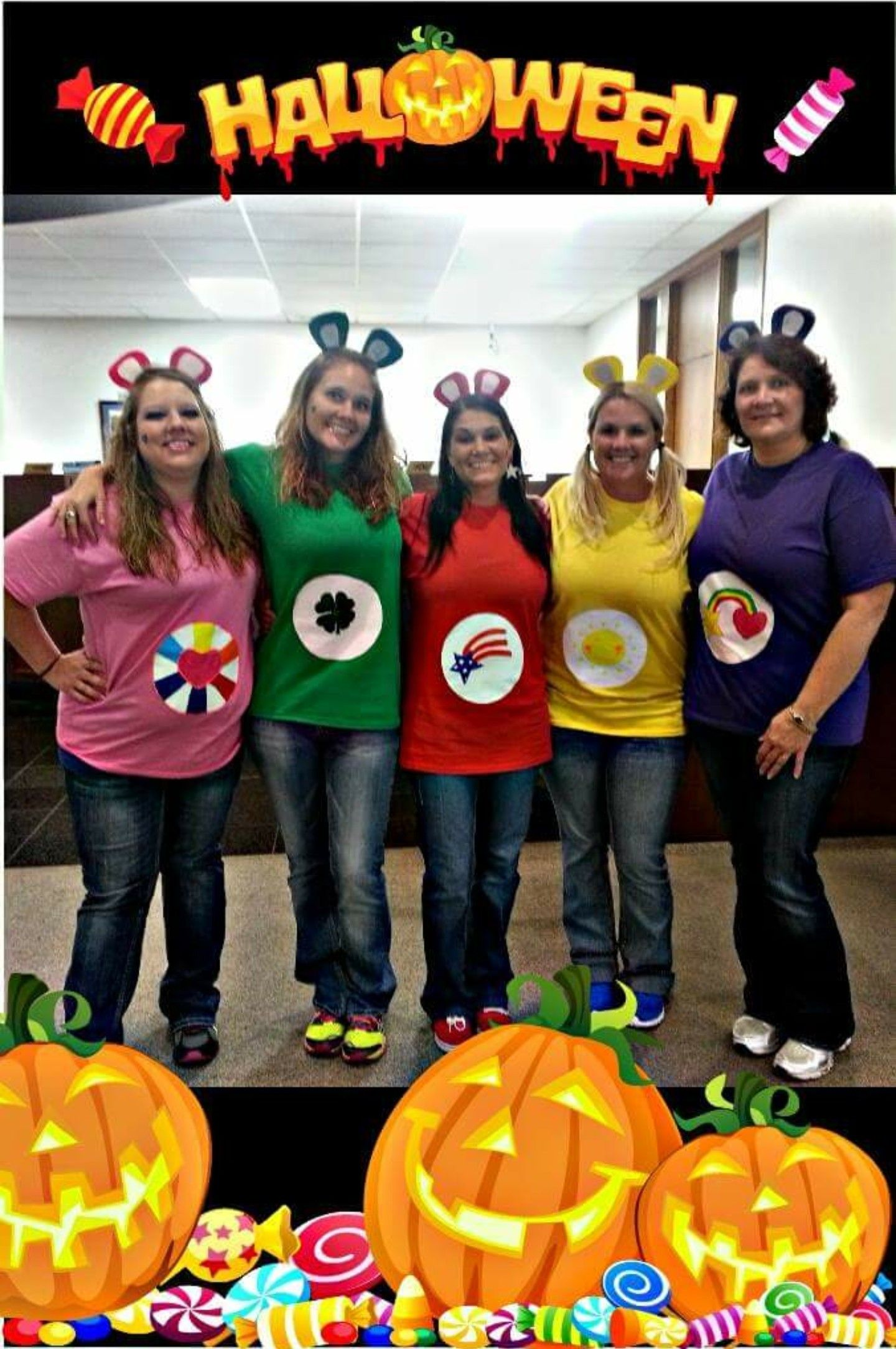 Group Halloween costumes, DIY Carebear for large group