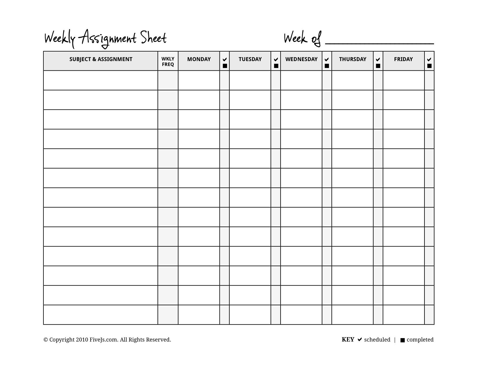 Homeschool Weekly Assignment Planner